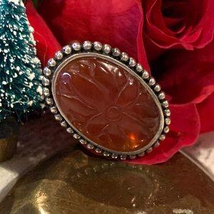 Vintage Sterling Silver Carved Carnelian Ring SZ 9
